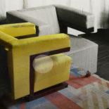 Fotomontage Gropius Sessel im Direktorenzimmer im Staatlichen Bauhaus Weimar, 1924 mit Photogrammetrie der Nachbildung des Sessels im 2019, Foto: Ines Weizman, 2019. (2020-01_Gropius_Sessel-2_1500)