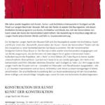 Konstruktion der Kunst - Kunst der Konstruktion. Foto: Der Raumjournalist Thomas Geuder. (DerRaumjournalist_1701_30_Poster_LangeNacht)